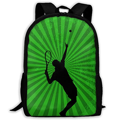 SARA NELL School Backpack, Sport With Tennis Player School Bag Student Stylish Unisex Canvas Backpack Book Bag Rucksack Daypack For Teen Kids (Best Male Tennis Players Of All Time)