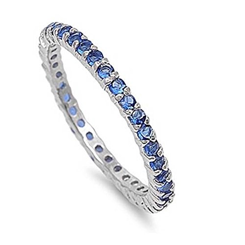 2MM Stackable Full Eternity Wedding Engagement Band 925 Sterling Silver Simulated Deep Blue Sapphire CZ, Size-6