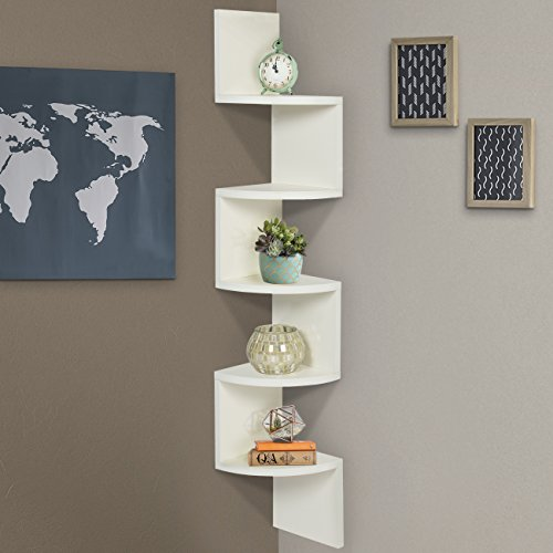 Best Choice Products Large Corner Wood Zig Zag Wall Shelf Wh