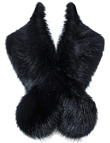 """BABEYOND Women's Faux Fake Fur Collar Shawl Faux Fur Scarf Wrap for Winter Coat 1920s Flapper Outfit 120cm/47.2"""" Long (Black) from BABEYOND"""