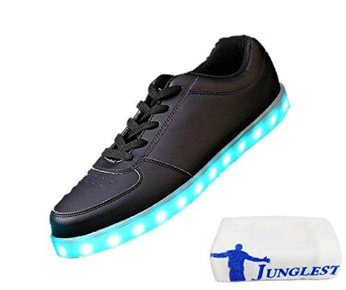 (Present:kleines Handtuch)JUNGLEST 7 Farbe LED Leuchtend Sport Schuhe USB Aufladen Turnschuhe für Unisex Herren Da Schwarz