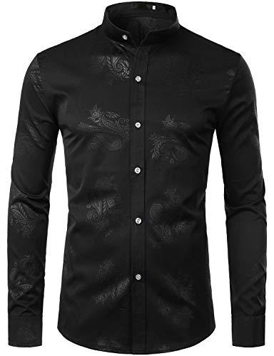 ZEROYAA Mens Hipster Paisley Design Slim Fit Long Sleeve Mandarin Collar Dress Shirts Tops ZZCL04 Black Large