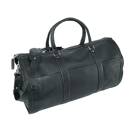 Leather Impressions Leather Convertible Duffle Bag to Garment Bag, Black