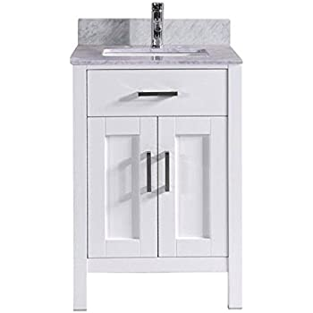 24 Inch White Bathroom Vanity With Marble Sink Top