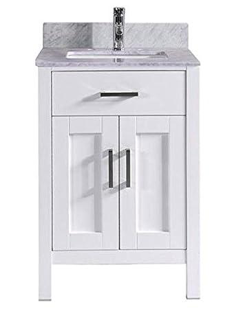 Belvedere Bathroom Vanity with Marble Sink Top and Backsplash  24 Inch  White. Belvedere Bathroom Vanity with Marble Sink Top and Backsplash  24