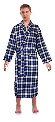 Casual Trends Classical Sleepwear Men's 100% Cotton Flannel Shawl Collar Robe, Size Small Medium Blue