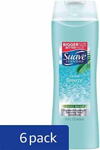 Suave Essentials Body Wash, Ocean Breeze 15 oz (Pack of 6)