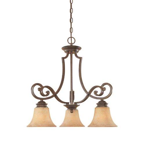 (Designers Fountain 81883-FSN 3-Light Down Chandelier, Forged Sienna Mendocino, 23