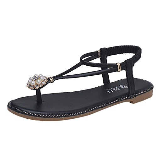 IGEMY Women Sandals, Women Bohemian Pearl Sandals Summer Fashion Diamond Sandals Flat Sandals Shoes Black