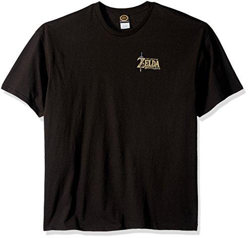 Nintendo Mens Zelda Breath Of The Wild Logo Link Bow T Shirt  Black  Large