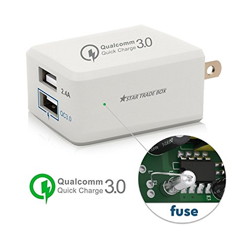 Fast Charger 3.0 Quick Charge Dual Port Wall Charger 24W Adaptive for iPhone X / 8/7/ 6S Galaxy S8 / S7 / S6 / Edge/Plus Note 5/4 and More.