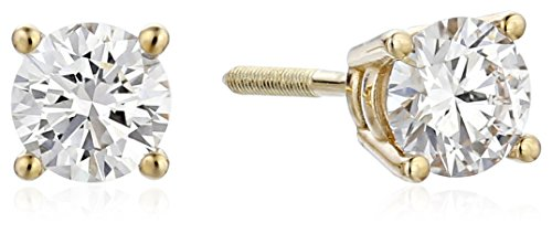 (IGI Certified 14k Yellow Gold Lab Created Diamond Stud Earrings (1/2cttw, I-J Color, SI1-SI2 Clarity))