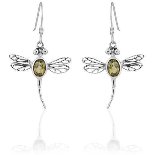 DTPsilver - Boucles d'oreilles Femme en Argent Fin 925 avec Peridot - Forme de Libellule