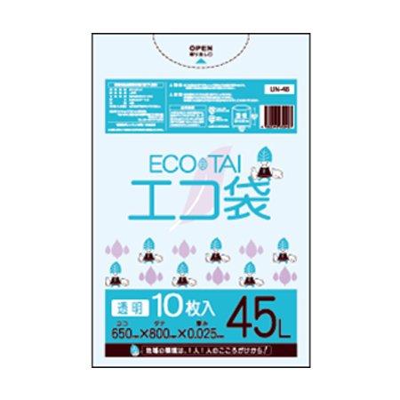 サンキョウプラテック エコ袋 45L 0.025厚 透明 10枚入×70冊 UN-48 B0784P9V71 厚さ0.025mm|透明 透明 厚さ0.025mm