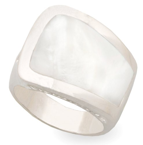 JanKuo Jewelry Silver Tone Mother Pearl Cocktail Ring Gift Box (9)