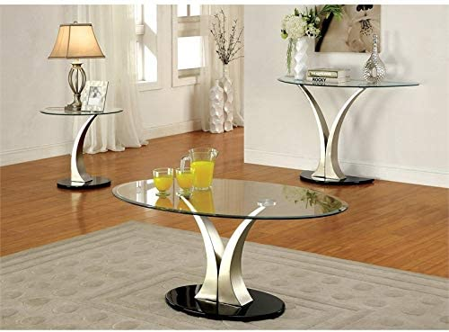 Furniture of America Mansa Stainless Steel Coffee Table in Satin Plated