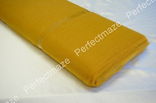 """Perfectmaze 54"""" (Inch) 40 Yards Tulle Bolt For Wedding Party Decoration 20 Colors+ (Old Gold)"""