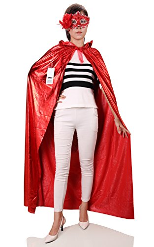 ProEtrade Halloween Christmas Cosplay Cloak Hooded With Eye Mask Costume For Women (Red) (Deluxe Wizard Set Costume)