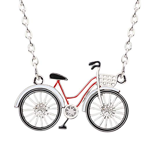 DLNCTD Statement Alloy Bicycle Bike Shape Necklace Pendant Choker Collar Chain Accessories Enamel Jewelry for Women