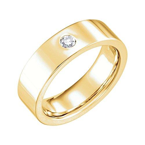 14k Yellow Gold 1/10 Ct Diamond Gypsy Set 6mm Flat 6mm Comfort Fit Wedding Men Gents Band - Size 11.5