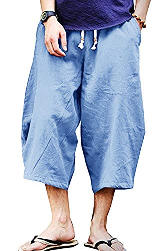 Wohthops Men's Elastic Waist Wide Leg Cotton Harem Baggy Pants Patchwork Linen Capri Trousers Light Blue, 32