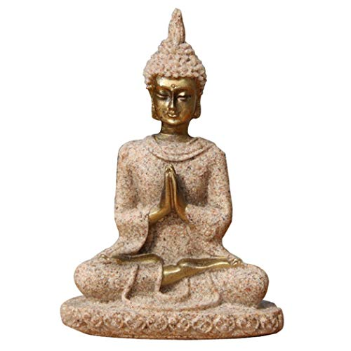 (Indian Resin Seated Buddha Miniature Meditation Statue Figurine Craft Home Decor)