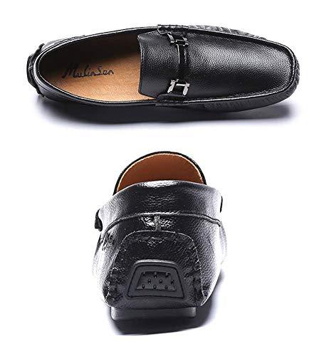 Casuales 5 Azul Zapatos 7 Plana Azul tamaño 7 UK Cuero 6 Holgazanes HhGold Slip Color para Hombres US US Hombres Talla de cómodos on de para Negro Lisos Punta y Color UK 5 6 w1qxpXd