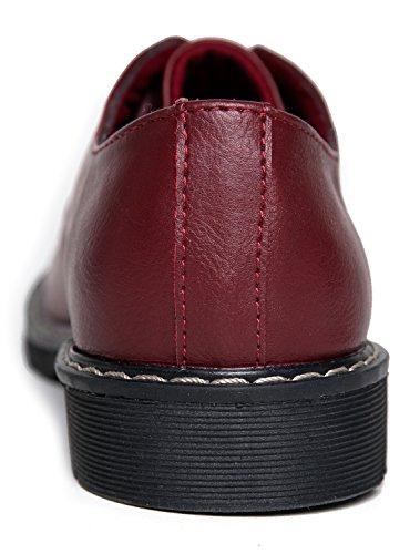 J. Chaussures Adams À Lacets Classiques Adams - Confortables Baskets À Bout Rond Fermées - Chaussures De Bureau Décontractées Basses À Talon Plat - Sterling Par Bourgogne Pu