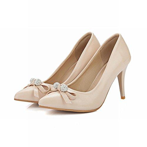 Carolbar Femmes Arcs Bout Pointu Strass Talons Hauts Talons Aiguilles Chaussures Chaussures Abricot