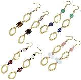 Nisha's 4 Pair Gemstone Earrings Set (Moonstone/Tiger's Eye/Jade/Lapis/Rose Quartz)