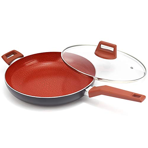 MICHELANGELO 12 Inch Ceramic Frying Pan Nonstick, Ultra Nonstick Frying Pans with Non-toxic Ceramic Coating , Nonstick Skillet with Lid, Ceramic Nonstick Pan 12 Inch, Ceramic Induction Skillet - Red