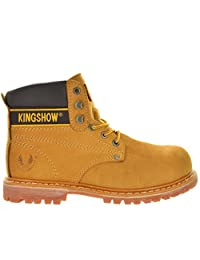 DREAM PAIRS M8036ST Men Rubber Sole Steel Toe Working Safety Boots (RUN HALF SIZE BIGGER)