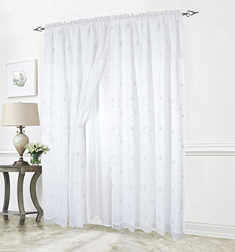 Elegant Comfort Luxury Curtain/Window Panel Set with Attached Valance and Backing 55