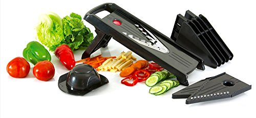 Mandoline Slicer - Professional Grade 5-in-1 Vegetable Julienne Cutter - Superior To Most Kitchen Utility Knives, Peelers, Graters, Slicers And Tool Sets – Easier To Clean Than Food Processors