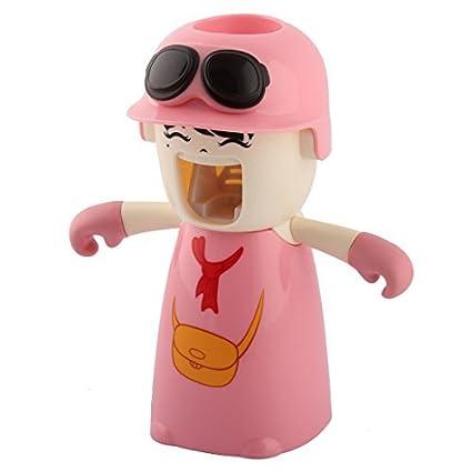 eDealMax muchacha Bolsa de plástico patrón de baño Dispensador automático de la Crema del exprimidor de