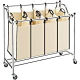 Bonnlo Laundry Sorter 4-Bag Heavy-Duty Rolling Divided Laundry Hamper Cart with Removable Bags and Brake Casters (Chrome)