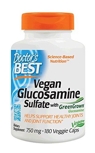 Doctor's Best Vegan Glucosamine SulFate, Joint Support, Non-GMO, Vegan, Gluten Free, Soy Free, 750 mg 180 Veggie Caps (Vegetarian Chondroitin Glucosamine)