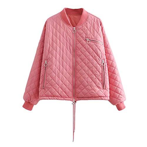 Pink S mujer cremallera chaqueta Sólido de diamante manga tamaño pie abrigo de de gruesa ZFFde larga Color de cálido Invierno de collar vHwx1qAa