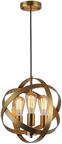KOONTING 3-Light Industrial Spherical Pendant Light, Metal Globe Chandelier Ceiling Lamp Light Fixture for Kitchen Island Dining Room Bedroom Living Room Entryway Hallway, Brushed Brass