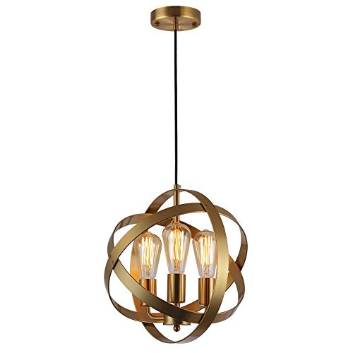 KOONTING 3-Light Industrial Spherical Pendant Light, Metal Globe Chandelier Ceiling Lamp Light Fixture for Kitchen Island Dining Room Bedroom Living Room Entryway Hallway, (Brushed Brass)