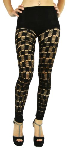 ToBeInStyle Women's Slashed Footless Fishnet Leggings