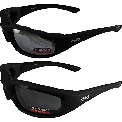 Two (2) Pairs Kickback Padded Motorcycle Sunglasses Black Frame Mirror Lens Smoke Lens