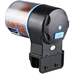 UEETEK Fish Feeder,Automatic Fish Feeder,Adjustable Feeding Amount Fish Food Feeder Auto Fish Food Timer Dispenser for Aquarium Fish Tank,5.5 x 4.9 x 4.9 inch (L x W x H)