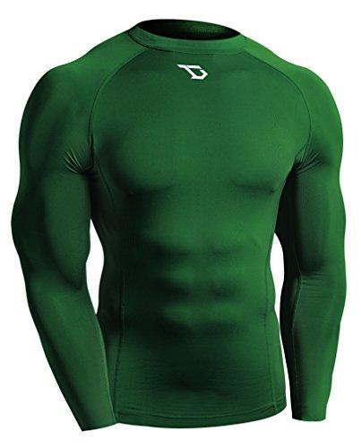 (Defender Men's Long Sleeve T-Shirt Cool Dry Compression Football GN_L)