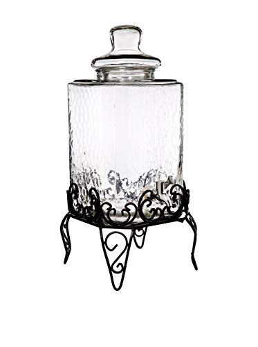 Home Essentials & Beyond 1868 Del Sol Hammered 2.25 gallon Beverage Dispenser with Rack, Clear ()