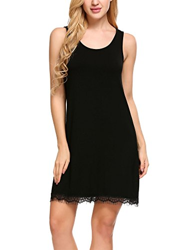 Hotouch Women's Sleepwear Solid Color O Neck Nightgown Soft Sleeping Dress Black S