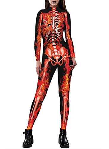 Auremore Women's 3D Skeleton Print Bodysuit Halloween Costumes Cosplay Jumpsuits Rompers Fire Skull -