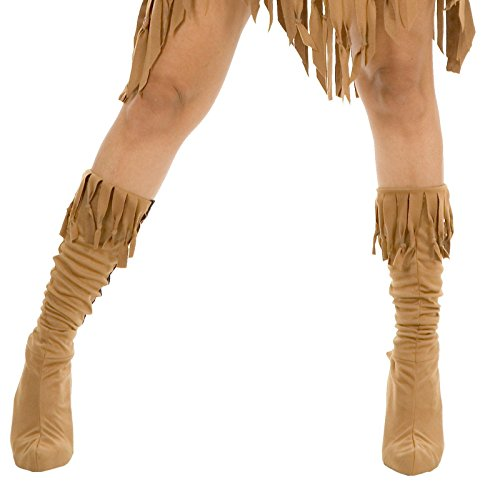 Charades Adult Indian Maiden Costume Boots, Tan, Medium/Large (Pocahontas Adult)