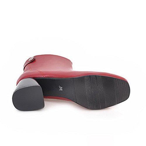 AN A&N Womens Boots Closed-Toe High-Heel Warm Lining Dress Light-Weight Bootie Light-Weight Low-Top Urethane Boots DKU01805 Red 5MjwU5Fwwx
