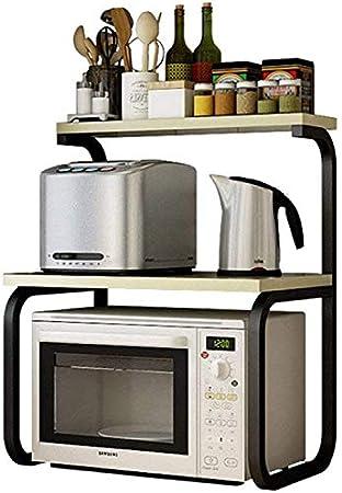 GBX Estante para platos, utensilios de cocina Estante de almacenamiento Estante para horno de microondas Estantes de especias de 3 niveles Estante para ollas Estante de cocina eléctrica Color de arce: Amazon.es: